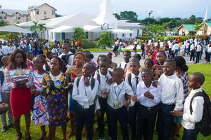 (The Church of Jesus Christ of Latter-day Saints) Latter-day Saints in the Democratic Republic of Congo celebrate their new temple in the capital of Kinshasa. The church announced plans Sunday to build a third temple in the African nation.