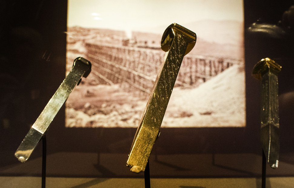 (Rick Egan | The Salt Lake Tribune) Three of the spikes used at the ceremonial completion of the transcontinental railroad in 1869, shown at the Utah Museum of Fine Arts in January. The spikes have since moved to the Utah State Capitol, where they will be on display in the Gold Room through June 24, 2019.