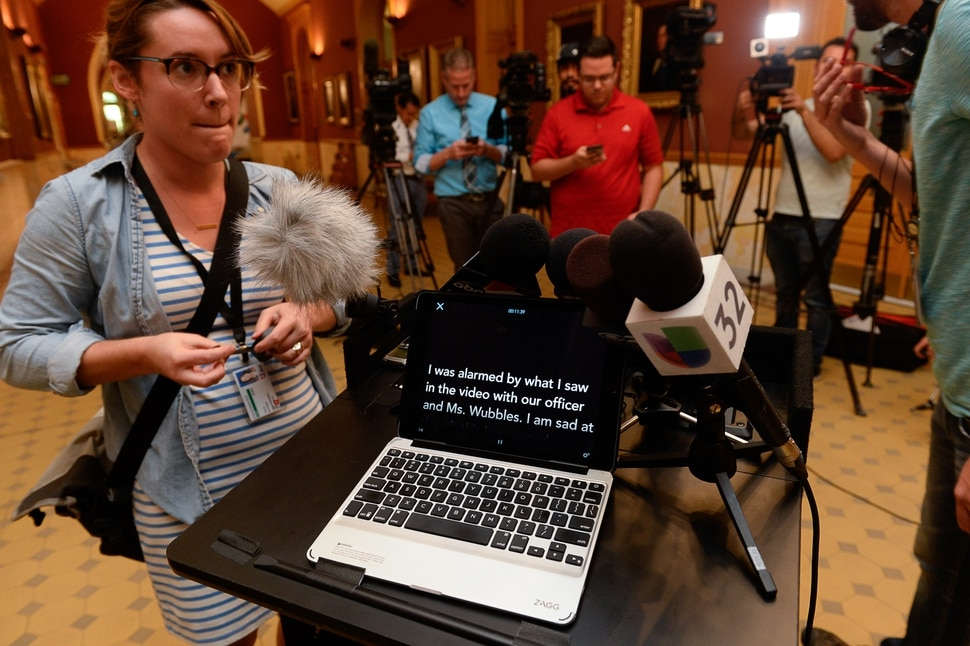 (Francisco Kjolseth | The Salt Lake Tribune) The statement to be given by Salt Lake City's Police Chief Mike Brown is accidentally left open prior to his press conference alongside Mayor Jackie Biskupski at the City and County building on Friday, Sept. 1, 2017, to apologize for an officer handcuffing a hospital nurse for refusing a blood draw from an unconscious patient.