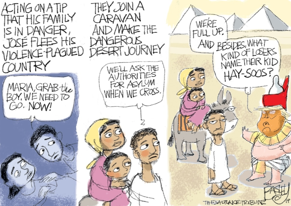 (Pat Bagley | The Salt Lake Tribune) This Pat Bagley cartoon, titled A Border Crossing, appears in The Salt Lake Tribune on Sunday, June 23, 2019.
