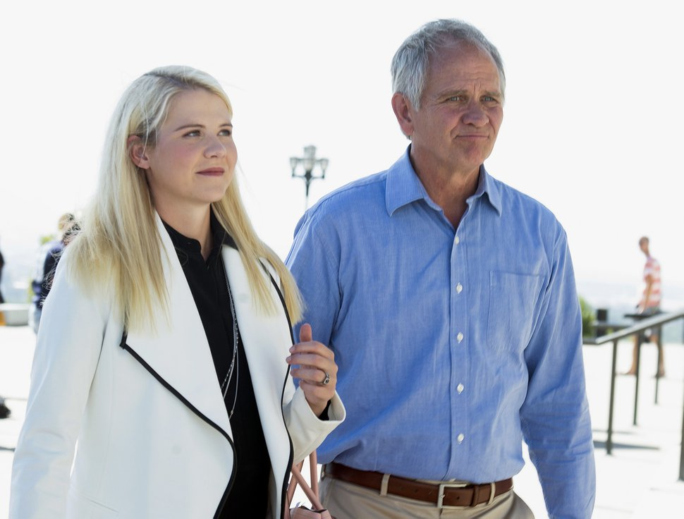 (Rick Egan | The Salt Lake Tribune) Elizabeth Smart leaves the Capitol with her father, Ed Smart, after speaking about the pending release of Wanda Barzee, during a news conference on the steps of the Utah State Capitol. Thursday, Sept. 13, 2018.
