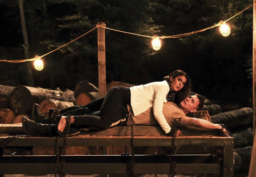This image released by Fox Searchlight shows Emmanuelle Chriqui and Erik Stolhanske in a scene from