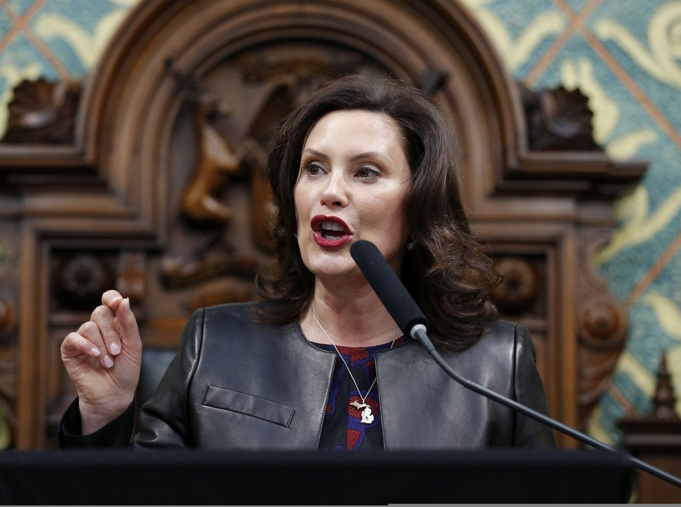 (Al Goldis | AP file photo) Michigan Gov. Gretchen Whitmer delivers her State of the State address to a joint session of the House and Senate at the state Capitol in Lansing, Mich., Jan. 29, 2020.