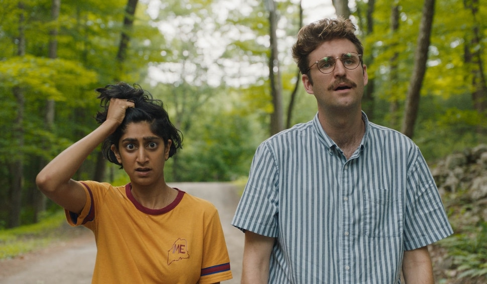 (Matt Clegg | Bleecker Street Films) Sunita Mani, left, and John Reynolds play a couple who try to unplug for a weekend, right during an alien invasion, in the comedy Save Yourselves!, directed by Alex Fischer and Eleanor Wilson.