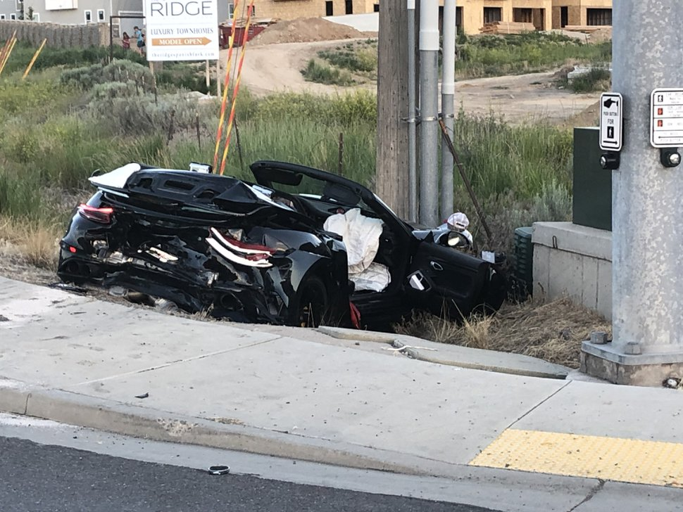 (Photo courtesy of Spanish Fork Police Department) A Porsche was one of four vehicles in an accident on U.S. 6 in Spanish Fork on Monday, June 24, 2019.