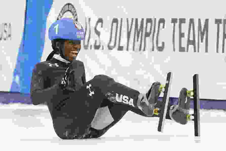 Teenager Maame Biney makes history as first female African-American speedskating Olympian