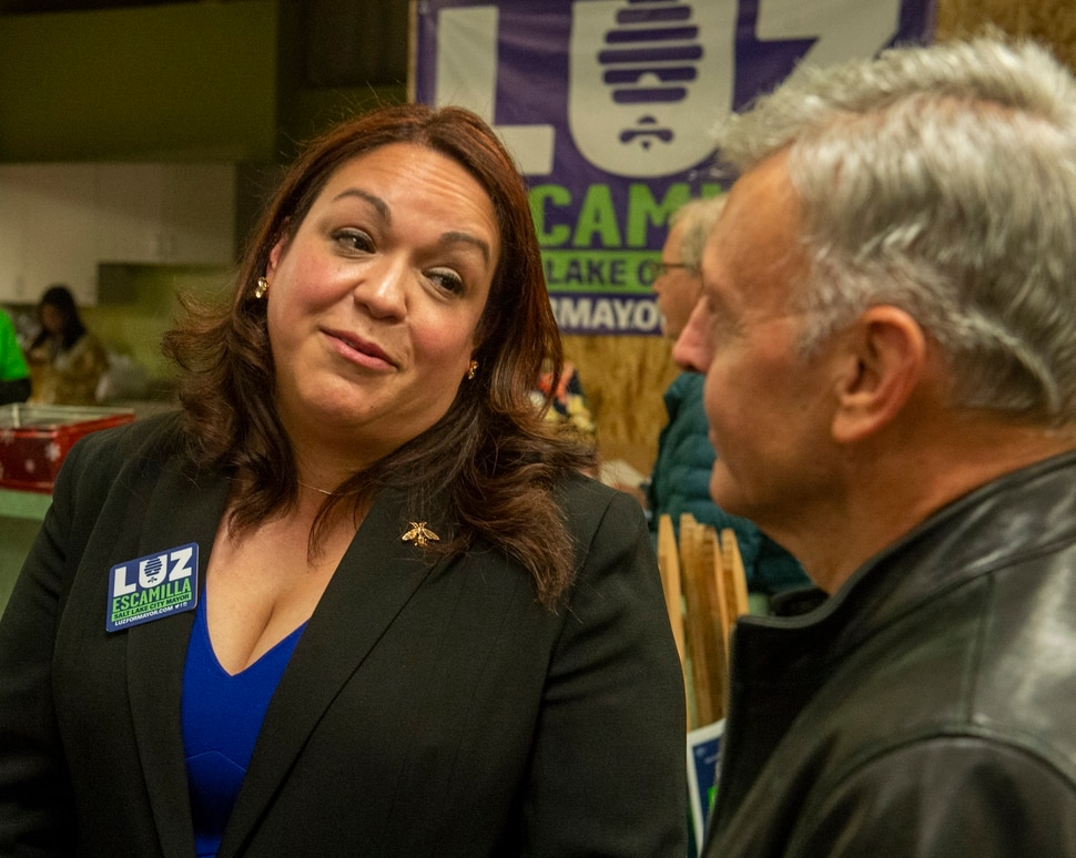 (Rick Egan | The Salt Lake Tribune) Salt Lake City mayoral candidate Luz Escamilla visits with supporters as she waits for the results, at her campaign headquarters, Tuesday, Nov. 5, 2019.