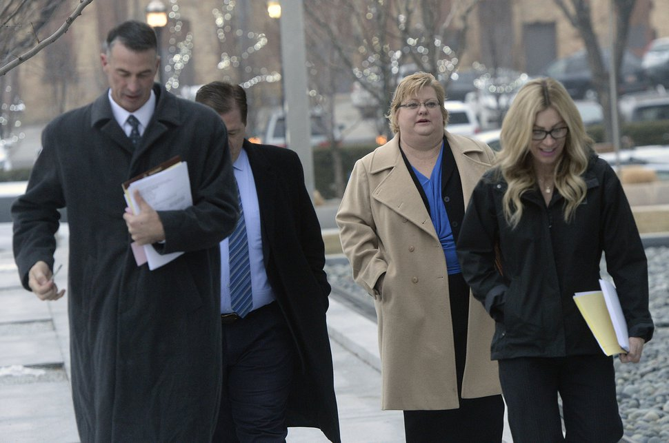 (Al Hartmann | The Salt Lake Tribune) Lyle Jeffs defense team enters Federal Court in Salt Lake City Wednesday Dec 13. Jeffs is being sentenced in federal court for his role in the food stamp scheme.