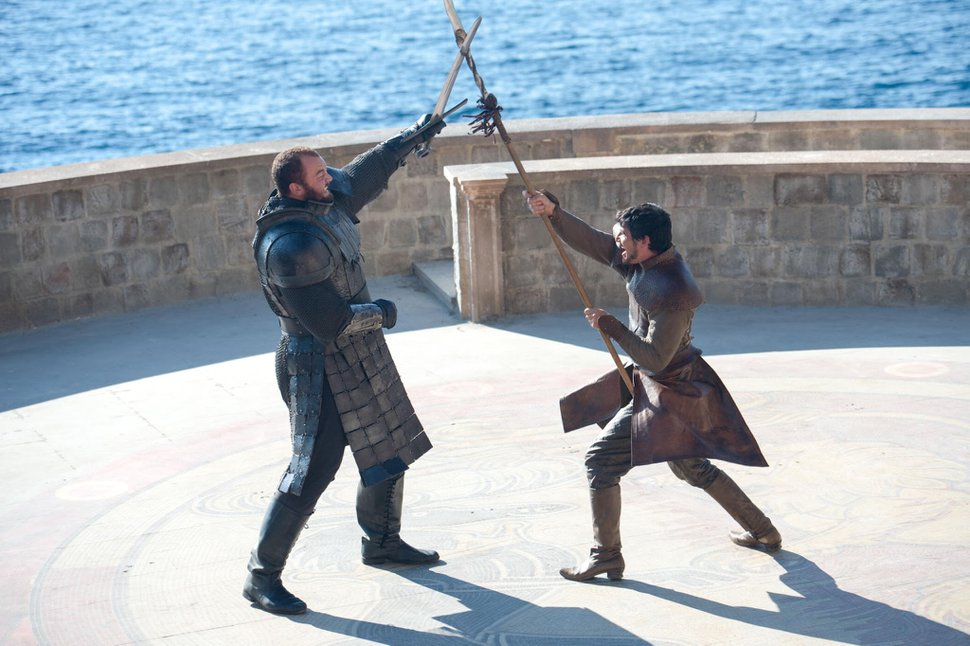 | Courtesy HBO Prince Oberyn Martell (Pedro Pascal ), right, battles Gregor Cleghan Ñ aka The Mountain (Ian Whyte), and it doesn't turn out well for either of them.