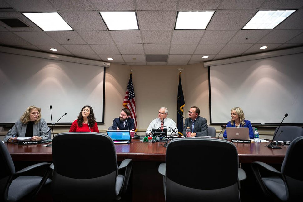 (Trent Nelson | Tribune file photo) Newly-elected Salt Lake County Councilwoman Shireen Ghorbani, second from left, speaks after taking the oath of office on Tuesday Feb. 26, 2019 during the Salt Lake County Council's work session meeting. Left to right are Ann Granato, Ghorbani, Arlyn Bradshaw, Richard Snelgrove, Max Burdick, and Aimee Winder Newton.
