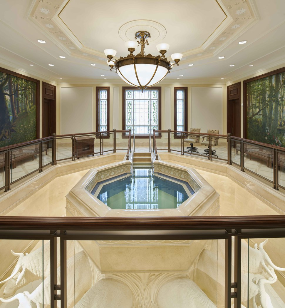 (Photo courtesy of The Church of Jesus Christ of Latter-day Saints) The baptistry in the Fortaleza Brazil Temple.
