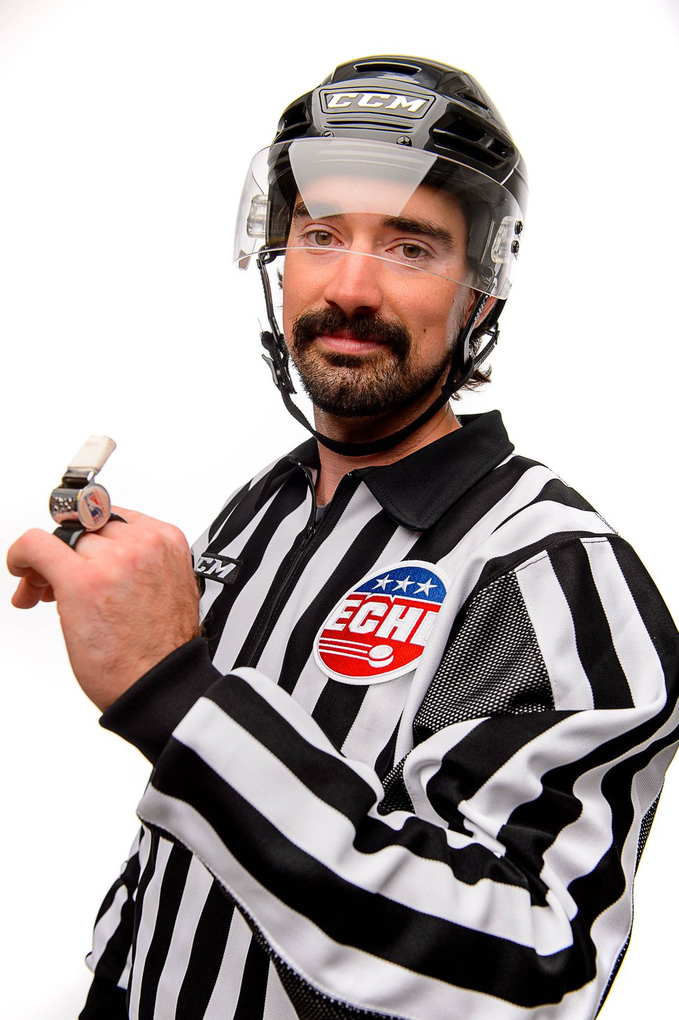 (Trent Nelson | The Salt Lake Tribune) Kollin Kleinendorst, who works part time as a referee at Utah Grizzlies games for the ECHL, in Salt Lake City, Tuesday August 29, 2017.