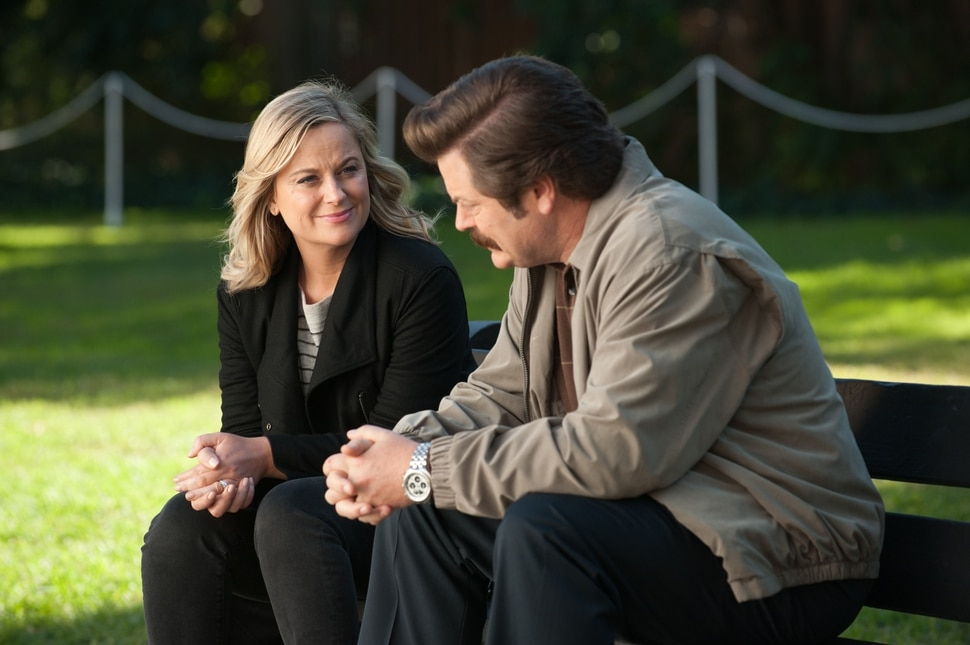 Colleen Hayes | NBC Amy Poehler as Leslie Knope and Nick Offerman as Ron Swanson in the series finale of Parks and Recreation.