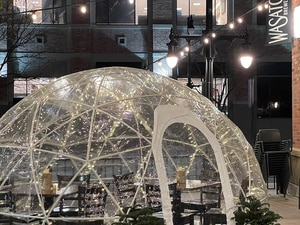 (Photo courtesy of Wasatch Brewery) The outdoor igloos at Wasatch Brewery in Salt Lake City and Park City have festive lights, heaters, blankets, air purifiers, and enough room for eight people.