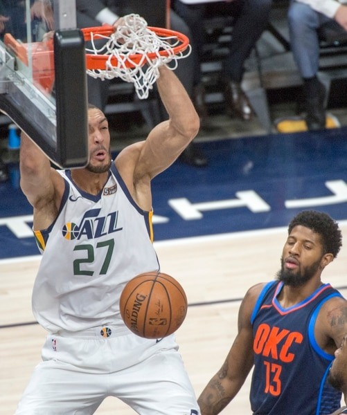 (Rick Egan | The Salt Lake Tribune) Utah Jazz center Rudy Gobert (27) dunks the ball in game 4, NBA playoff action between Utah Jazz and Oklahoma City Thunder, in Salt Lake City, Monday April 23, 2018.