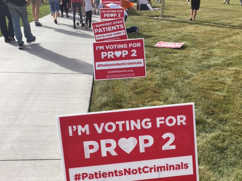 (The Salt Lake Tribune | Kathy Stephenson) Utahns who support Proposition 2 picked up their lawn signs and T-shirt during a rally Saturday.