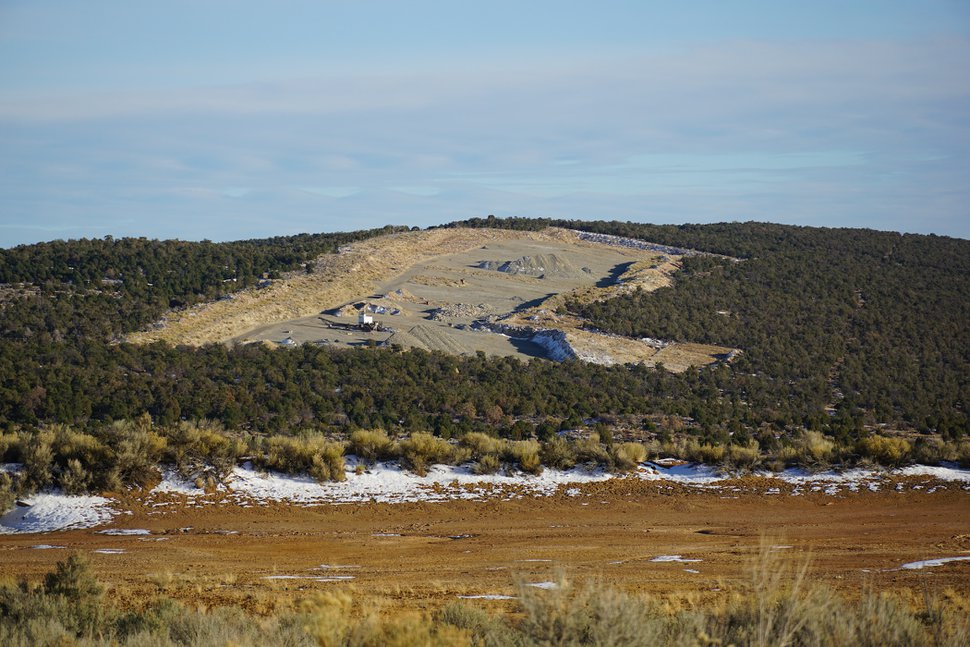 (Zak Podmore   The Salt Lake Tribune) The scar from a limestone quarry marks a hillside in Lisbon Valley, Utah, more than a decade after being closed. Nov. 12, 2020.