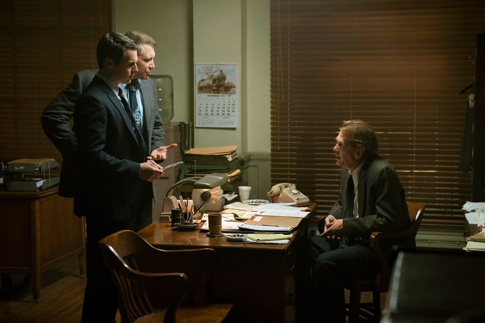 """(Photo courtesy of Patrick Harbron/Netflix) Jonathan Groff, left, Holt McCallany and guest star Robert Elswick in """"Mindhunter."""""""