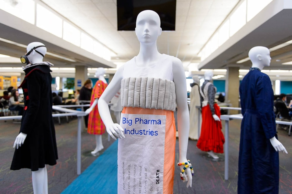 (Trent Nelson | The Salt Lake Tribune) Megan Ulch's dress Prescribed Addiction, which is part of Dressed to Protest, a new exhibit presented by students in Salt Lake Community College's Fashion Institute, in Taylorsville, Thursday January 18, 2018. The exhibit shows how clothing can (and has) been used as a way for social and political protest. Most of the pieces are student designs, but a few come from the Fashion Institute's historic clothing collection.