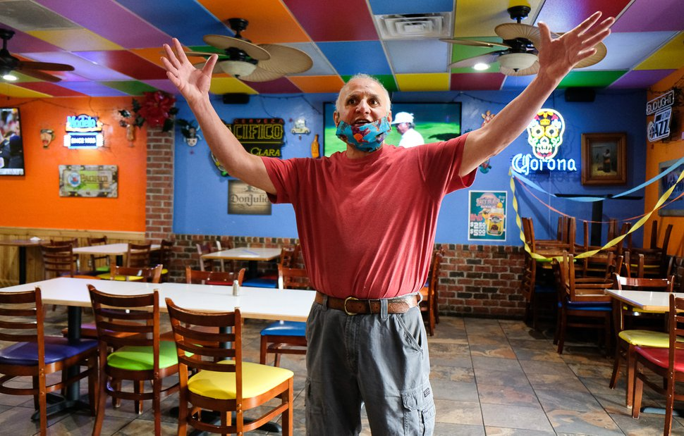 (Francisco Kjolseth | The Salt Lake Tribune) El Chihuahua Mexican restaurant owner Victor Quiñones talks about the changes made as the restaurant opens with limited dining on Friday, May 1, 2020.