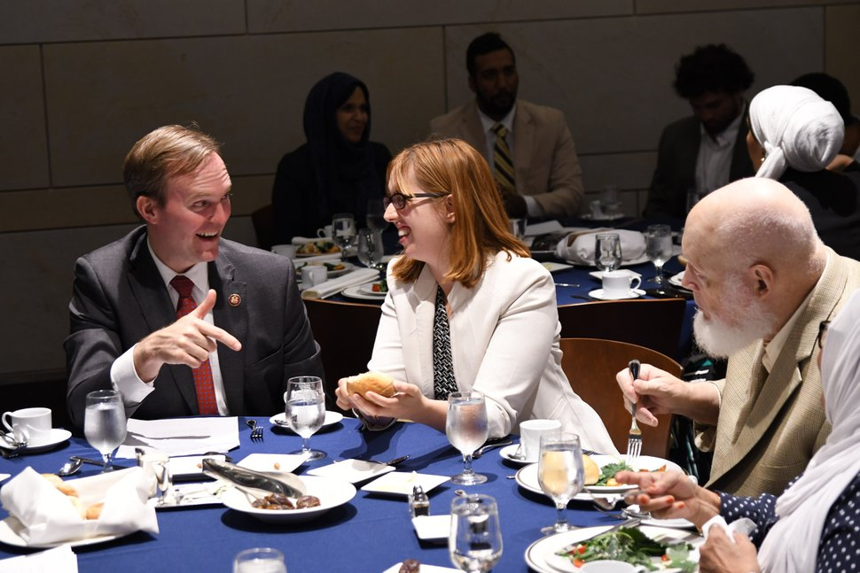 (Photo courtesy of CAIR/Liam Foskett) Rep. Ben McAdams, D-Utah, discusses civil rights with attorney Carolyn Homer at a May 21, 2019, U.S. Capitol iftar dinner hosted by the Council on American-Islamic Relations.