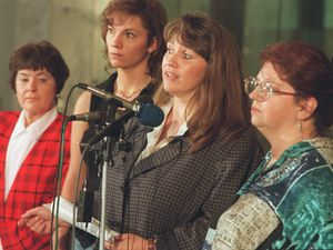 "(Leah Hogsten  |  Tribune file photo)  Members of ""Tapestry of Polygamy"" Rowenna Erickson, left, Laura Chapman, Vicky Prunty and Carmen Thompson held a news conference outside Gov. Michael Leavitt's office in 1998 to gain support in their fight to prosecute bigamy and related civil rights abuses in Utah."
