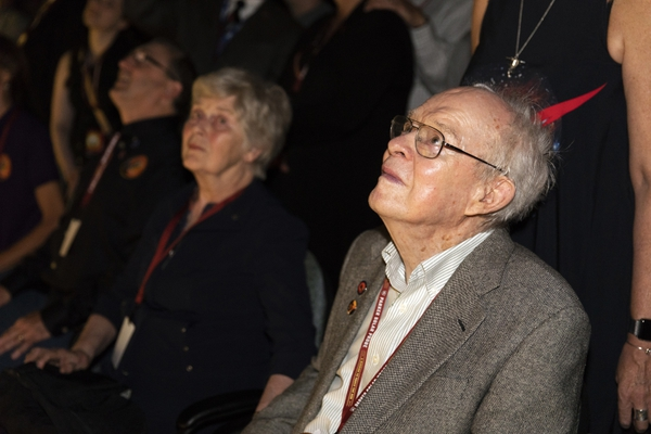 Eugene Parker, front right, a pioneer in heliophysics watches the launch of the Delta IV rocket, carrying the Parker Solar Probe, at the Kennedy Space Center, Sunday, Aug. 12, 2018, in Cape Canaveral, Fla.