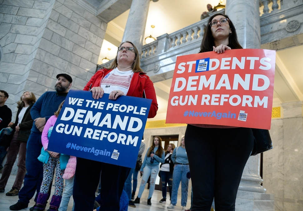 (Francisco Kjolseth | The Salt Lake Tribune) Caroline Phinney, left, and Chiemi Maloy join a rally at the Utah Capitol for a mid-session report card on the progress of gun violence and public safety bills in the Utah Legislature on Saturday, Feb. 15, 2020. The rally took place the day after the anniversary of the shooting at Stoneman Douglas high school in Parkland, FL.