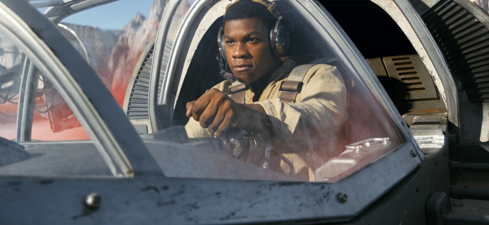 This image released by Lucasfilm shows John Boyega as Finn in a scene from, Star Wars: The Last Jedi (Lucasfilm via AP)