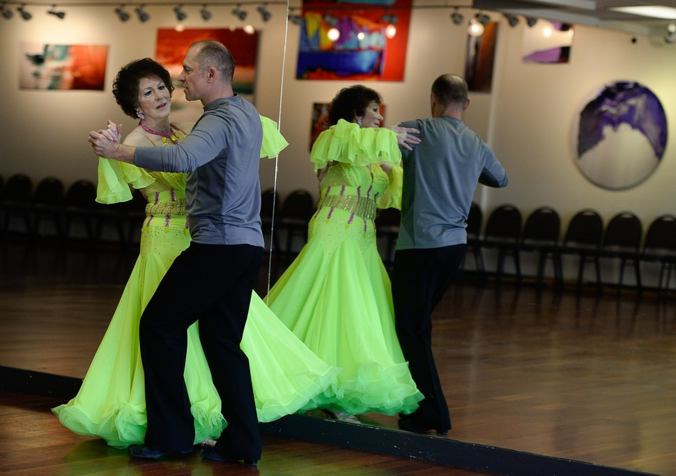 (Francisco Kjolseth | The Salt Lake Tribune) Jean Woodruff, a 92-year-old who loves ballroom dancing and loves competitions, prepares for an upcoming competition with Martin Skupinski, founder of Ballroom Utah Dance Studio. Jean danced for years with her husband, and the couple taught lessons in a dance studio in their Holladay home. She stopped dancing after he had a stroke, and then died. Several years ago, she started dancing again, and now competes regularly.