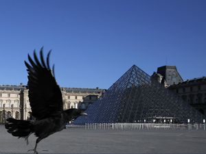 FILE - In this Monday, March 30, 2020 file photo, a black crow flies over in the deserted Louvre museum courtyard in Paris. (AP Photo/Francois Mori, File)