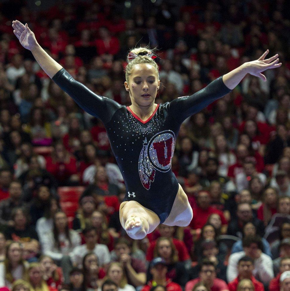 (Rick Egan | The Salt Lake Tribune) MyKayla Skinner competes on the beam for the Utah, in Gymnastics action at the Jon M. Huntsman Center, Saturday, March 2, 2019.
