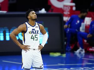 (Matt Slocum | AP) Utah Jazz's Donovan Mitchell plays during an NBA basketball game against the Philadelphia 76ers, Wednesday, March 3, 2021, in Philadelphia. Mitchell is part of a coalition of NBA players, coaches and owners who plan to push lawmakers in several states to address social justice issues.
