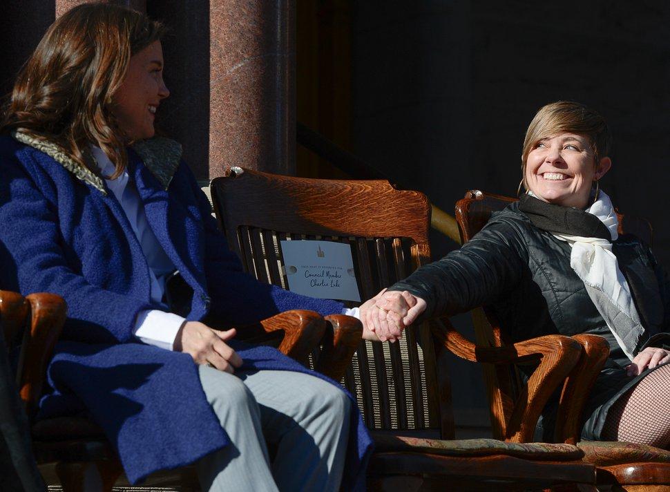(Francisco Kjolseth | The Salt Lake Tribune) Erin Mendenhall embraces Salt Lake City council members Amy Fowler prior to Mendenhall being sworn in as Mayor at Salt Lake City Hall on Monday, Jan. 6, 2020.