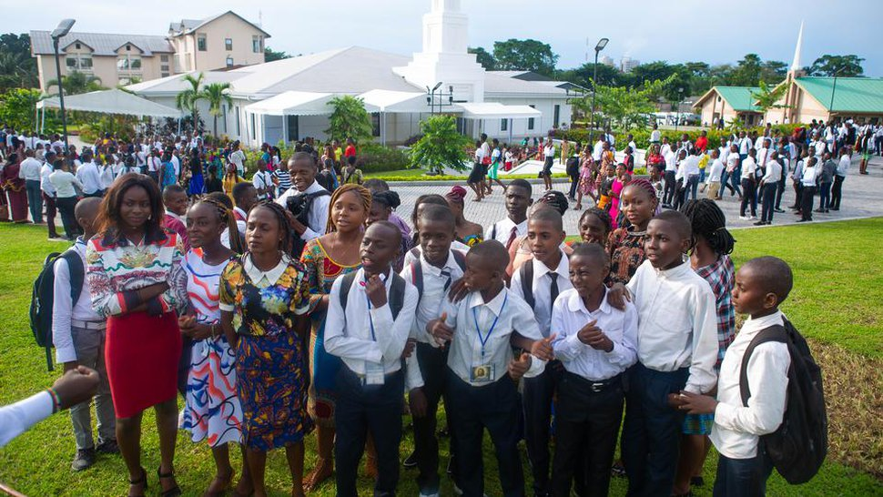 (File photo courtesy of The Church of Jesus Christ of Latter-day Saints) Latter-day Saints in the Democratic Republic of Congo celebrate their new temple in the capital of Kinshasa.