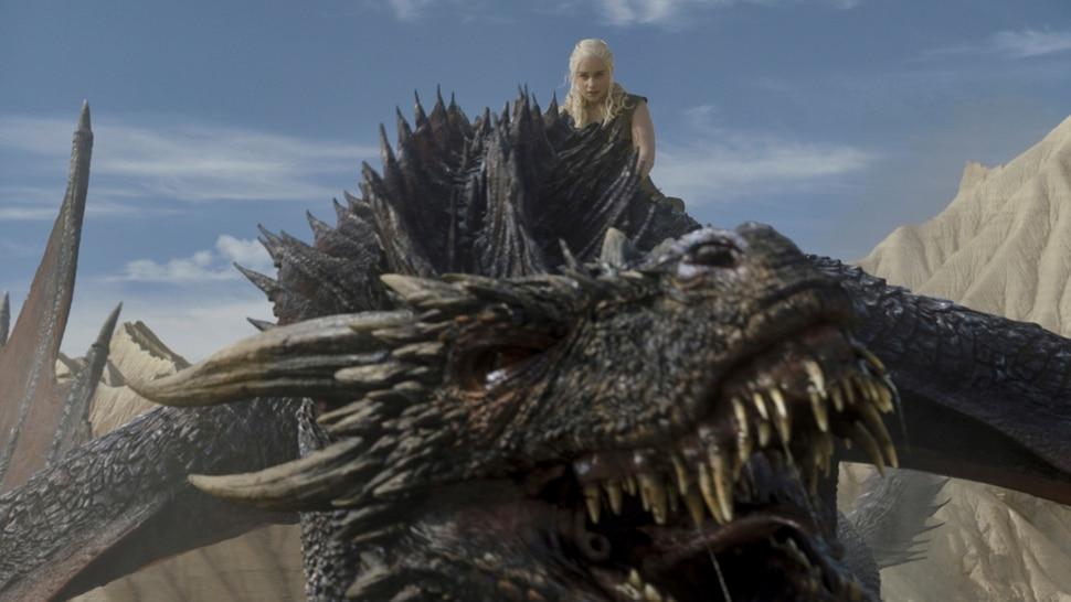 "Daenerys Targaryen (Emilia Clarke) rides one of her dragons in ""Game of Thrones."" Photo: Courtesy of HBO"