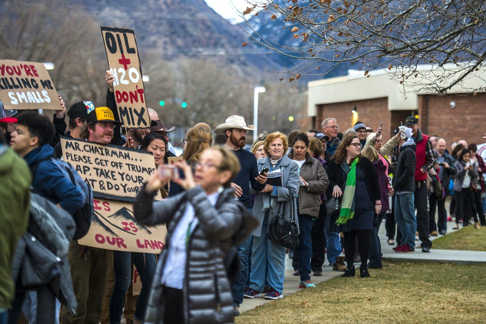 Chris Detrick | The Salt Lake Tribune Crowds of people line up before the town-hall meeting with U.S. Rep. Jason Chaffetz, R-Utah, outside Brighton High School, Thursday, Feb. 9, 2017.