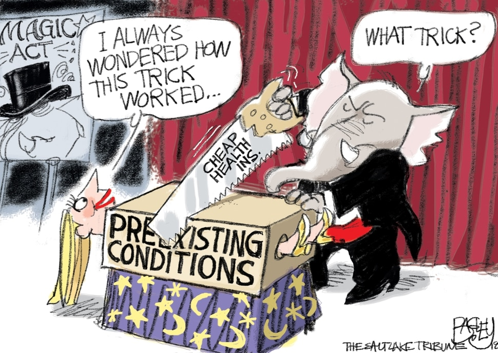 This Pat Bagley cartoon, Insurance Magic Trick, appears in The Salt Lake Tribune on Wednesday, Aug. 8, 2018.