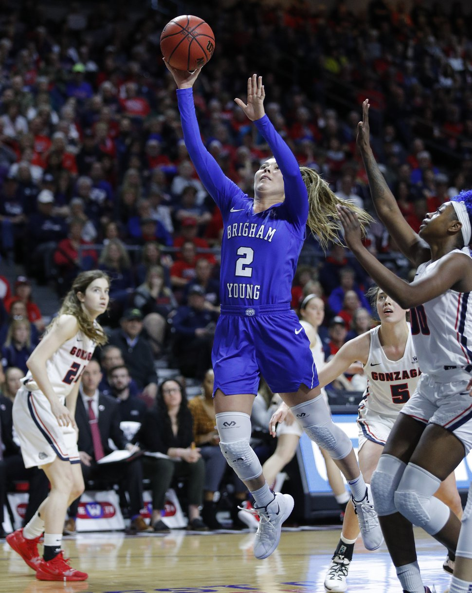 BYU's Shaylee Gonzales shoots against Gonzaga during the first half of an NCAA final college basketball game at the West Coast Conference women's tournament, Tuesday, March 12, 2019, in Las Vegas. (AP Photo/John Locher)