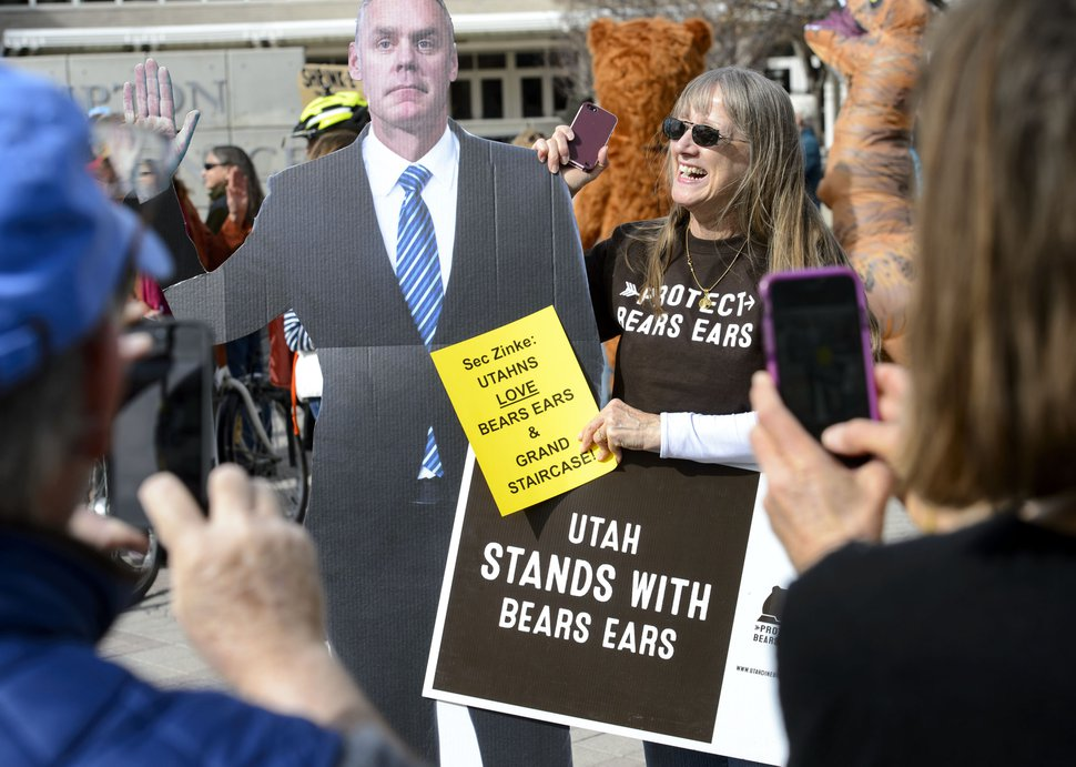 (Steve Griffin | Tribune file photo) Proponents of the Bears Ears and Grand Staircase-Escalante national monuments rally outside the Salt Palace Convention Center in Salt Lake City, Feb. 9, 2018. SUWA organized the rally where then-U.S. Secretary of the Interior Ryan Zinke was scheduled to speak during the Western Hunting and Conservation Expo.