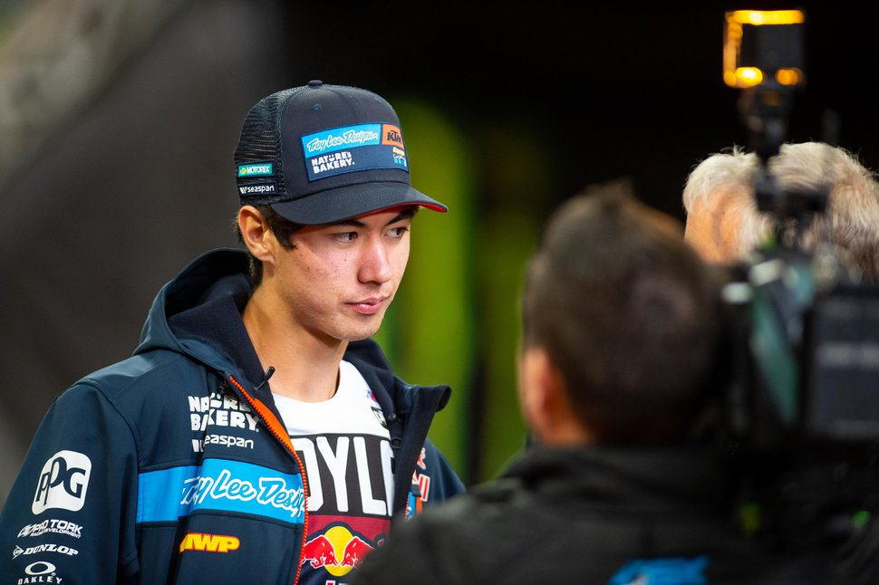 (Photo courtesy of Feld Entertainment) Pierce Brown of Sandy, a rookie on the Monster Energy AMA Supercross tour, does an interview after racing his pro debut in Atlanta. Brown will race five 250SX East races at Rice-Eccles Stadium on the University of Utah campus between May 31 and June 27, 2020.