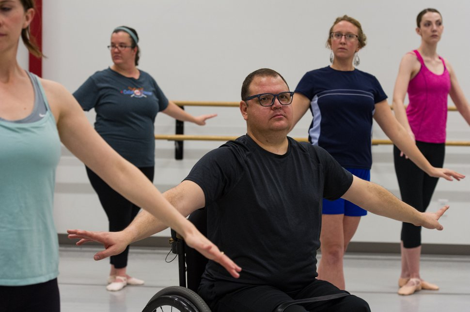 (Alex Gallivan | Special to the Tribune) Participants learn the benefits of working out with ballet during a recent Ballet West Academy exercise class for beginners.