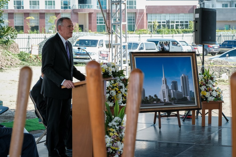 (Photo courtesy of The Church of Jesus Christ of Latter-day Saints) Elder Evan Schmutz, Philippines area president, speaks in June 2020 at groundbreaking for the Alabang Temple.
