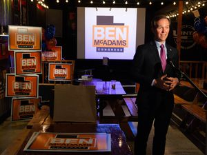 (Francisco Kjolseth  |  The Salt Lake Tribune) Democratic Rep. Ben McAdams, looking to retain his seat for Utah's 4th Congressional District, conducts an interview as he keeps an eye on vote count from his small election watch party at Pat's BBQ in Salt Lake City, Tuesday, Nov. 3, 2020.
