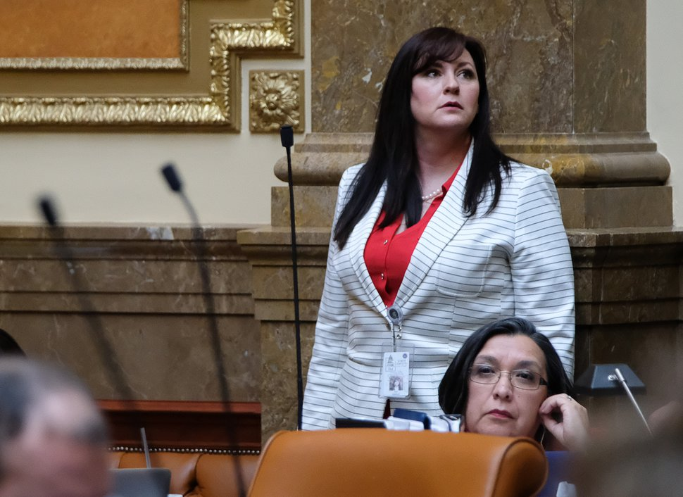 Francisco Kjolseth | The Salt Lake Tribune Rep. Kim Coleman, R-West Jordan, silenced the House chamber on Tuesday as she told of being attacked when she was a young woman. Allowing women to protect themselves from attempted rape became the main argument for a bill to allow residents as young as 18 to carry concealed weapons.