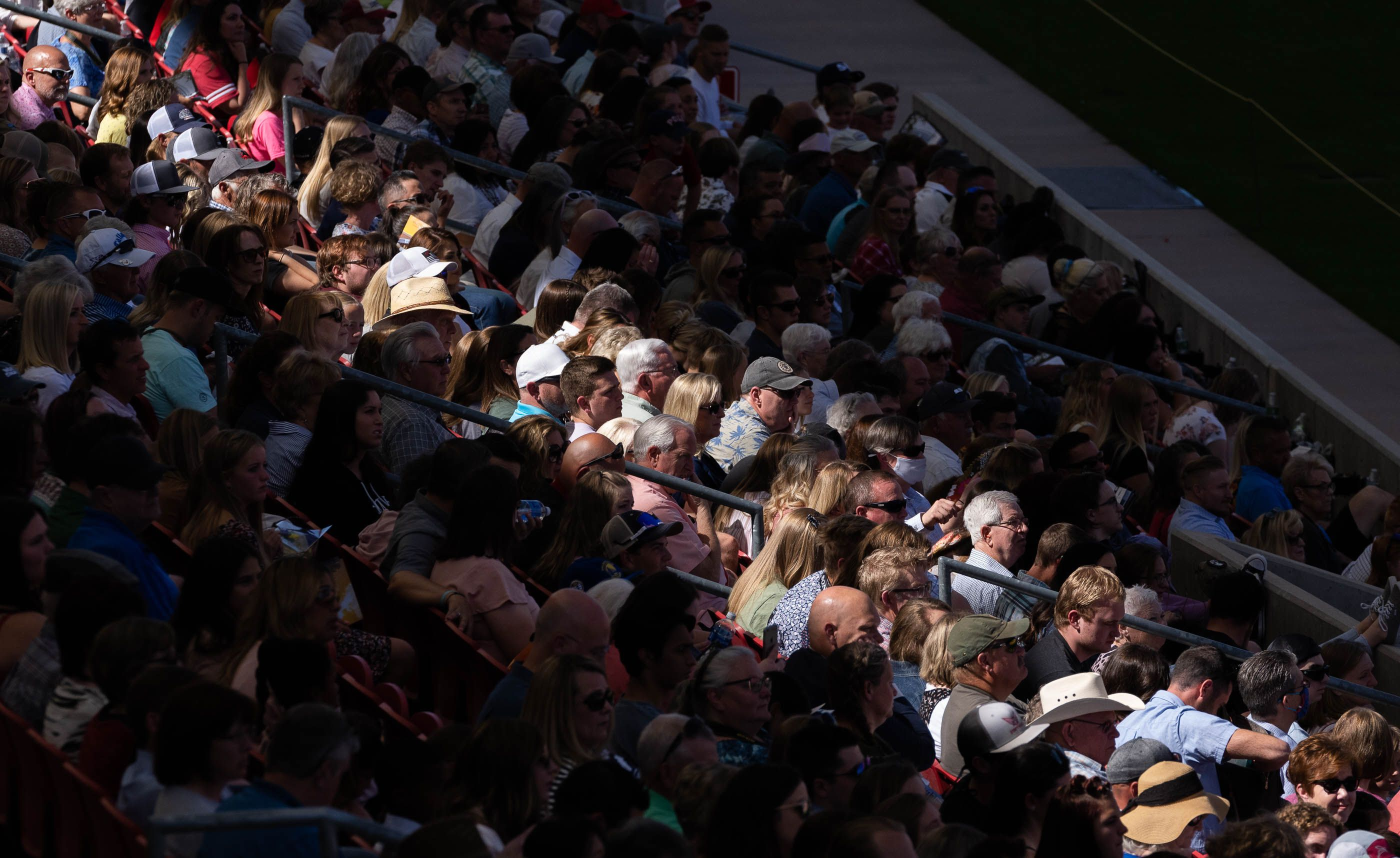 (Francisco Kjolseth | The Salt Lake Tribune) Friends and family pack the shady side of Rio Tinto Stadium for commencement ceremonies for Westlake High School on Thursday, May 27, 2021.