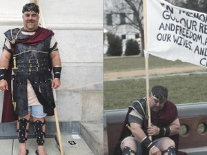 (FBI) Arizonan Nathan Wayne Entrekin, who was dressed as Captain Moroni during the Jan. 6 breaching of the U.S. Capitol, has been arrested by the FBI.
