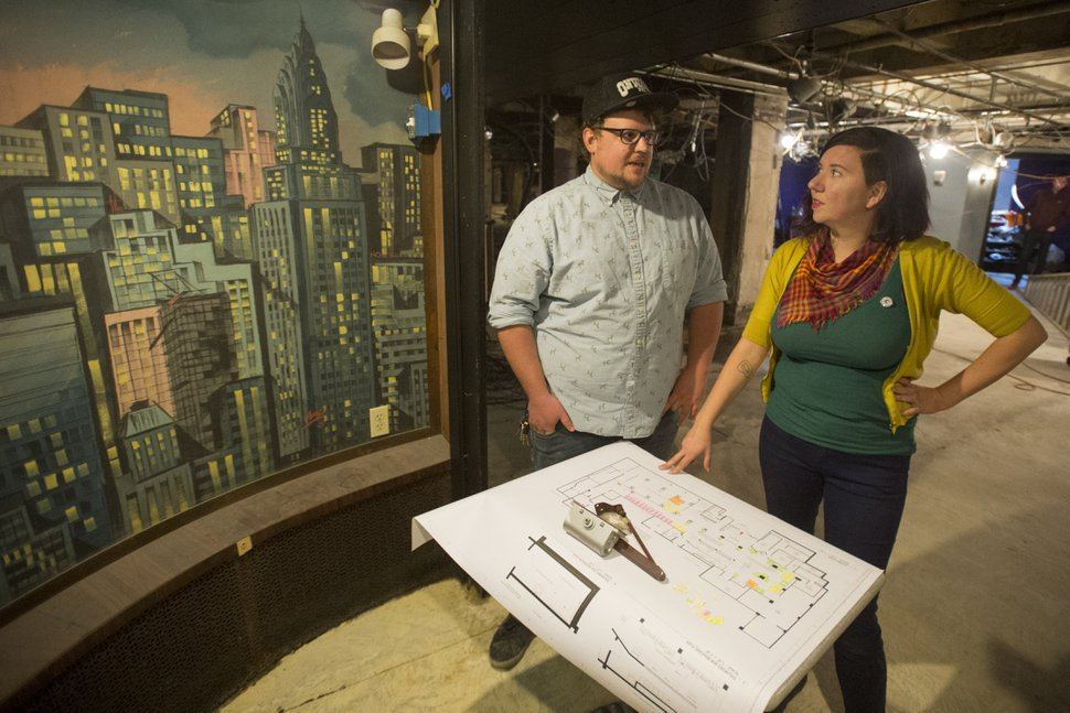 (Rick Egan | The Salt Lake Tribune) Michael Eccleston and Katy Willis discuss the plans for the new Quarters Arcade Bar, which was previously the Manhattan Club.
