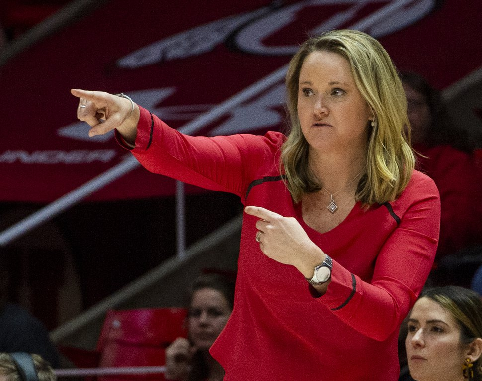 (Rick Egan | Tribune file photo) Utah Utes head coach Lynne Roberts gives instructions to her players, in PAC-12 basketball action between the Utah Utes and the Stanford Cardinals at the Jon M. Huntsman Center, Friday, February 14, 2020.