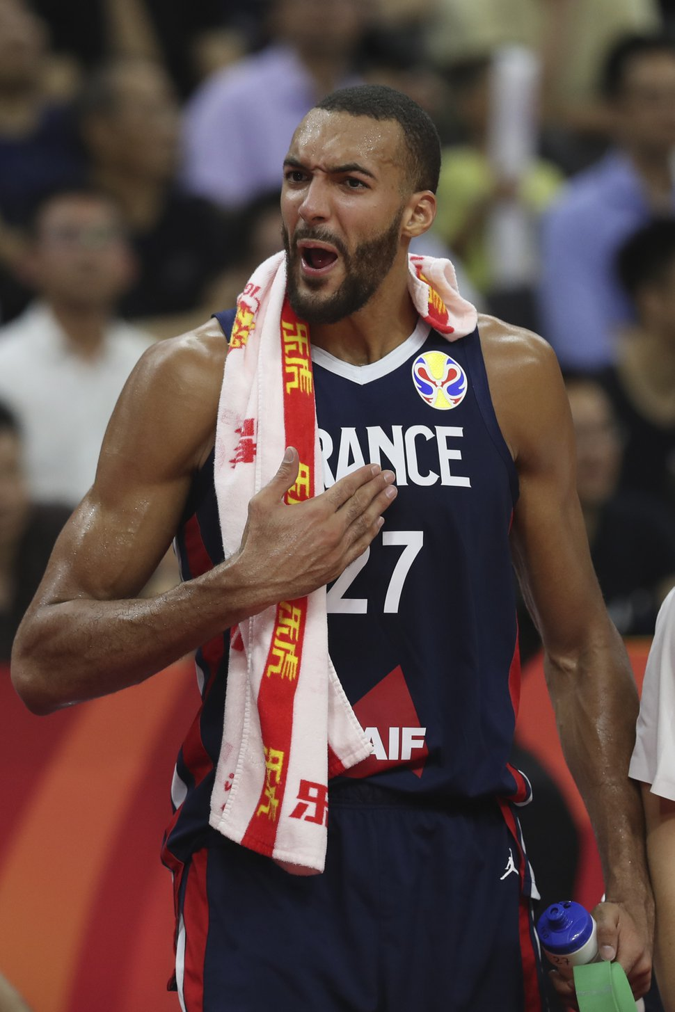 (Ng Han Guan | AP Photo) France's Rudy Gobert reacts during a quarterfinal match against United States for the FIBA Basketball World Cup in Dongguan in southern China's Guangdong province on Wednesday, Sept. 11, 2019. France defeated United States 89-79.
